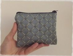 Steel blue small coin purse Handmade upcycled by sewingfairydust
