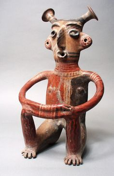 Mexico - Seated Male Figure, Jalisco, Jalisco, 200 B.C. - A.D. 500 Sculpture, Burnished ceramic with slip
