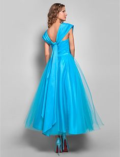 Ball Gown Straps Tea-length Tulle and Stretch Satin Evening/Prom Dress (699375) - EUR € 118.17