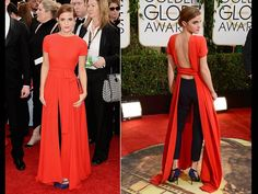 emma watson golden globes 2014- this outfit is just futuristic and the cutting edge of fashion.