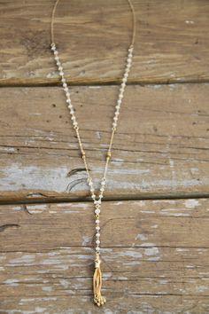 Pietra di luna Rosario collana collana di WanderandLustJewelry