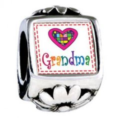 Colorful Grandma Heart Photo Flower Charms  Fit pandora,trollbeads,chamilia,biagi,soufeel and any customized bracelet/necklaces. #Jewelry #Fashion #Silver# handcraft #DIY #Accessory