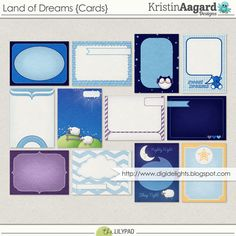 Quality DigiScrap Freebies: Land of Dreams journal cards freebie from Kristin Aagard Designs Printable Planner Stickers, Printable Labels, Printables, Mini Albums, Dream Note, Digital Project Life, Dream Journal, Digital Scrapbooking Freebies, Photoshop