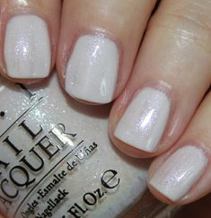 OPI Soft Shades 2015 Collection-Chiffon My Mind is a pale pink/white with iridescent shimmer. I love this color but again I had issues with it being uneven. This was three coats.