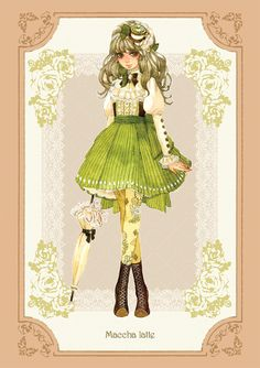 """Maccha latte."" These steampunk-ish girls are based on different kinds of tea and coffee...?"