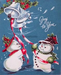 #1143 50s Snowman Couple Ring the Bells! Vintage Christmas Card-Greeting