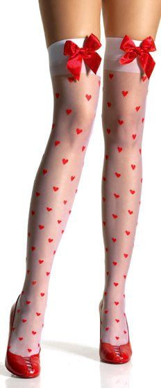Adult Sheer Hearts Thigh High - Regular and Plus Size - Candy Apple Costumes - Valentine's Day Costumes
