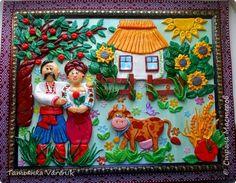 Картина панно рисунок Лепка Панно Любовь  Тесто соленое фото 1