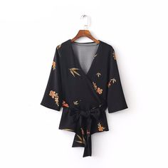 Women sweet V neck kimono loose floral blouses bow belt half sleeve shirt ladies casual streetwear brand tops blusas