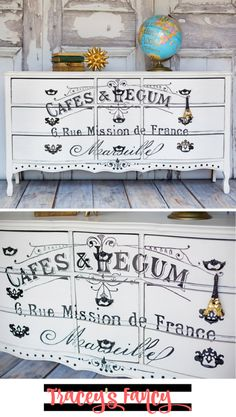 European Furniture   French Dresser   How to add graphics and transfers to furniture   Furniture Painting Tips by Tracey's Fancy   Furniture Makeover Ideas   French Stencils on Furniture