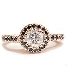 .93CT Black Diamond & White Diamond Ring 14K Rose Gold