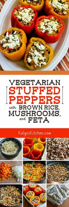 You won't miss the meat in thiese delicious Vegetarian Stuffed Peppers with Brown Rice, Mushrooms, and Feta, and these tasty peppers are low-glycemic, gluten-free, and South Beach Diet friendly! [found on KalynsKitchen.com]