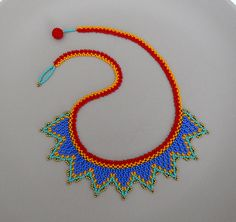 Collar de Coronita  Azul Rojo Naranja y Turquesa  Hecho a