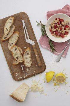 How To Serve Apps Like A Grown-Up At Your Next Dinner Party #refinery29  http://www.refinery29.com/easy-party-snacks-recipes#slide2  Ingredients 10 oz French baguette bread, thinly cut into 30 slices    6 spritzes of cooking spray    1 tsp garlic salt    15 oz canned cannellini beans, rinsed and drained    4 medium plum tomatoes, seeded and chopped    4 tbsp uncooked red onion, minced    4 tsp fresh lemon juice    1 tbsp extra-virgin olive oil    1 tbsp minced fresh rosemary    1 tsp kosher…