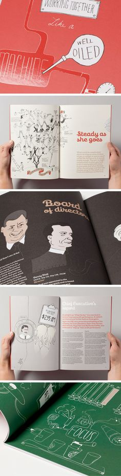 Gorgeous illustration style and layout variety in this Restaurant Brands Annual Report - by Velocity Creative - via New Zealand's Best Graphic Design