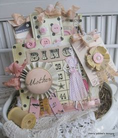 vintage style 1950s lady MOTHER its your DAY stitched handmade pocket and set of button card tags