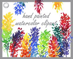 Bright flowers Clip Art handpainted watercolor by AqwaColor