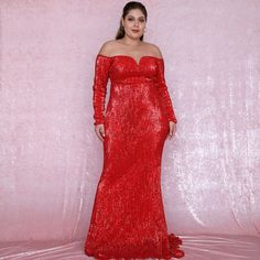 Plus Size Sexy Red Deep V-Neck Off-The-Shoulder Bodycon Elastic Sequins Maxi Dress Long Sequin Dress, Sequin Maxi, Strapless Dress Formal, Glamorous Outfits, Long Sleeve Gown, Gowns Of Elegance, Fit And Flare, Evening Dresses, Dress Up