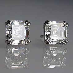 Jewelry Diamond : Matching asscher cut diamond earrings in platinum. - Buy Me Diamond Asscher Cut Diamond, Diamond Studs, Diamond Jewelry, Diamond Earrings, Silver Earrings, Tiffany Earrings, Platinum Earrings, Solitaire Earrings, Amber Earrings