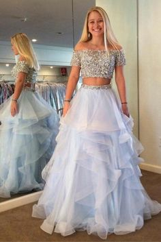 Princess Prom Dresses, Two Piece Off Shoulder Tiered Blue Tulle Prom Dress with Sequins Beading, Plus Size Formal Dresses and Plus Size Party Dresses are great for your next special Occassion at cheap affordable prices The Dress Outlet. Princess Prom Dresses, Cute Prom Dresses, Pretty Dresses, Homecoming Dresses, Beautiful Dresses, Formal Dresses, Short Sleeve Prom Dresses, Latin Dresses, Barbie Princess