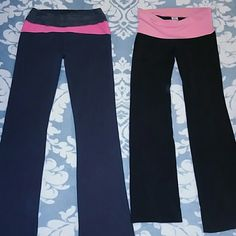 2 workout leggings bundle - 1 PINK & 1 Marika Tek The PINK are stretch leggings with wear to them. They have a bleach stain at the bottom pant leg and hole near the P on the PINK logo as shown in picture 3. Material is 87% cotton and 13% spandex Sz SMALL. The Marika tek ones are more of a charcoal grey color. Ive worn quite a few times but are still in good condition with no major flaws. There is a key pocket in the waist band. Material is 90%polyester and 10% spandex SZ MEDIUM PINK…