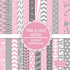 50% OFF SALE Digital Scrapbooking Printable Paper Pack Pink and Gray Instant Download - Pink and Gray (581) on Etsy, $1.88