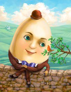Humpty Dumpty by Connie Christensen Oasis Album, Pick Art, Humpty Dumpty, Fantasy Images, Dot Painting, Nursery Rhymes, Cartoon Drawings, Painted Rocks, Alice In Wonderland