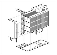 Edificio multifamiliar - Diaz Varela y Sartor Compacto. Architecture Illustrations, Architecture Diagrams, 2d, Boards, Sketch, Drawings, Flats, Filing Cabinets, Architecture