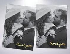 Gold Foil Thank You Cards & Matching Pearlescent Envelopes