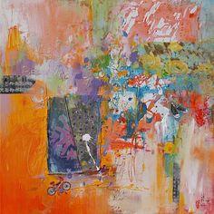 """Xiaoyang Galas Abstract Art""""Be Happy"""" Kunst Abstraktes Gefühle: Freude Gegenwartskunst"""