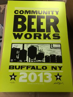 Community Beer Works poster - Wood Type & Linocut - Black and White ink