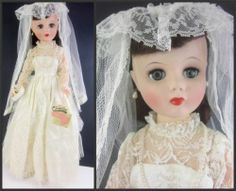 """Unusual and hard to find 1950's 24"""" Bride Fashion Doll JUDEE Child's Sweetheart, made by Sherman. Complete ensemble, new condition in original 1950's box. www.Connectibles.net"""