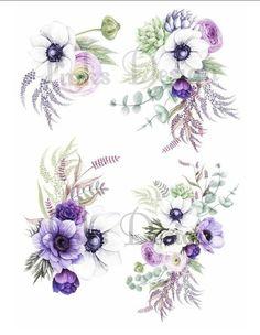 Violet Flower Tattoos, Violet Tattoo, Dahlia Tattoo, Anemone Flower, Flower Art, Flower Bouquets, Clip Art, Watercolor Flowers, Watercolor Flower Tattoos