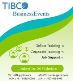 VirtualNuggets Offering Tibco Business Events and all Tibco Domains Training For More Details Please Contact URL: VirtualNuggets.Com Email: Info@VirtualNuggets.Com Phone: India: +91-8885560202  USA: +1-707-666-8949""