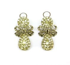 Pair of 18th century chrysolite cluster pendant earrings, Portuguese c.1750,  the pear shaped cluster drops below round cluster tops with openwork ribbon tied bow between, close set in silver