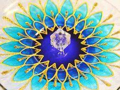 Novas cores. Incensário Em Vidro Redondo Mandala Margarida Azul Dourado