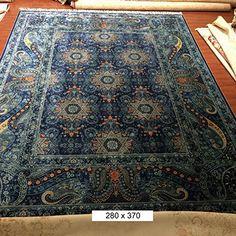 9'x12' Large Blue Pure Silk Handmade Persian Rugs Turkish Home Carpet Silk on Silk