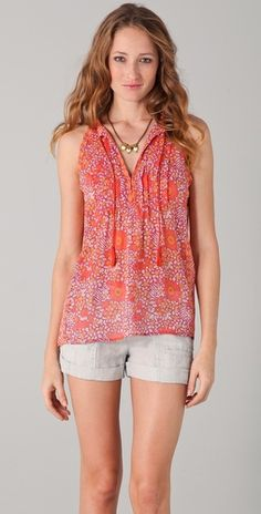 """Melissa Rycroft rocked this coral top in promos for her new show Melissa & Tye. """"Shara Top"""" by Joie $168"""