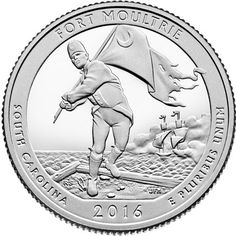 2016 - 5 oz. Silver, Fort Moultrie at Fort Sumter National Monument, South Carolina - America the Beautiful Bullion Coin - reverse side       Description - depicts Sergeant William Jasper returning the regimental flag to the ramparts while under attack from a British ship.