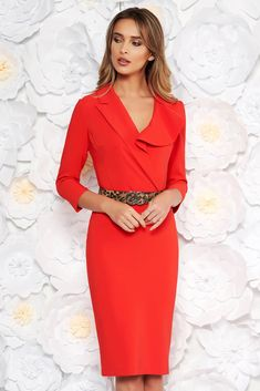LaDonna coral elegant pencil dress slightly elastic fabric accessorized with belt Fabric Textures, Soft Fabrics, Daily Dress, Dress Cuts, Pencil Dress, Suits You, Size Clothing, Dress Outfits, Nice Dresses