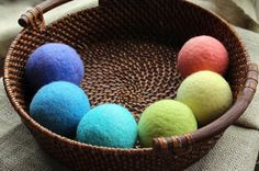 Rainbow dryer balls felted wool balls  set of by NutmegNaturalsCT, $36.00