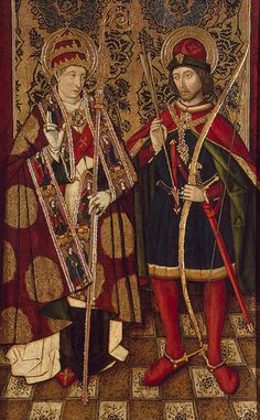 Anonymous (Spain) (XV cent)   Saint Sebastian and Saint Fabian   Oil and tempera on panel   1475/1500   The Hermitage   Saint Petersburg (Russia)