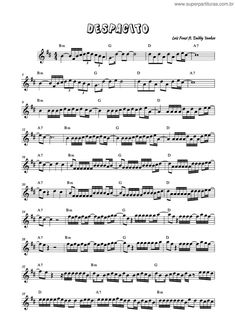 Super Partituras - Despacito v.3 (Daddy Yankee, Luis Fonsi), sem cifra Alto Sax Sheet Music, Free Violin Sheet Music, Trumpet Sheet Music, Saxophone Music, Easy Piano Sheet Music, Guitar Tabs Songs, Piano Songs, Daddy Yankee, Music Lessons