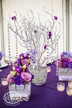 Silver Manzanita Branch Centerpiece by Jen's Blossoms - purple and silver, and easy to DIY (sorry Jen)