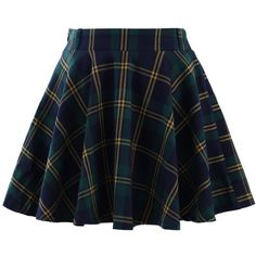 Chicwish Green Plaid Check Skater Skirt featuring polyvore, women's fashion, clothing, skirts, mini skirts, bottoms, saias, plaid, green, blue pleated mini skirt, plaid skirt, green plaid mini skirt, tartan mini skirt and skater skirts