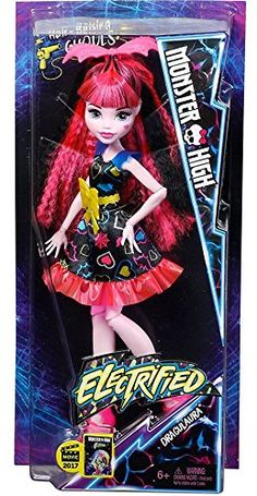 Monster High Electrified Supercharged Ghoul Draculaura Doll.  Bolt into fun with hair-raising ghouls from the new Monster High movie Electrified. Choose from Draculaura and Ari Hauntington dolls along with the newest Monster High character, Silvi Timberwolf. Each doll looks super-charged dressed in an electrifying fashion. Features bright, bold colors; shockingly fun accessories; and voltageous hair and makeup -- just like in the movie. Each sold separately; subject to availability.