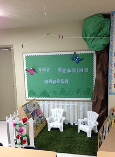 The reading garden garden theme classroom, classroom layout, classroom organisation, new classroom, Toddler Classroom, New Classroom, Classroom Design, Kindergarten Classroom, Classroom Themes, Garden Theme Classroom, Classroom Projects, Classroom Organisation, Classroom Displays