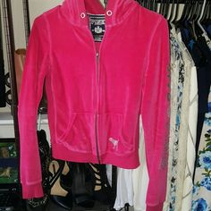 """VS zip sweater -older authentic VS sweater -size; xsmall -small fit; feels like xxsmall -color; bright darker pink -silver zipper and left side sleeve with diamond -Length armpit down; about 11"""" -more of a cropped sweater than a regular sweater. Victoria's Secret Sweaters"""