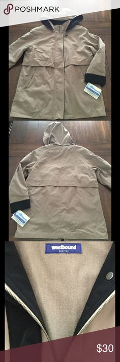 NWT Westbound All Weather Petite Jacket Tan jacket by Westbound. Size small petite. Removable hood. Feel free to ask questions. Offers okay! Westbound Jackets & Coats