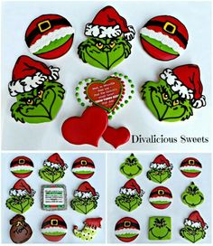 Sheila Fleming, Divalicious Sweets: The Grinch who stole Christmas. Sugar Cookie Royal Icing, Iced Sugar Cookies, Christmas Sugar Cookies, Christmas Chocolate, Holiday Cookies, Grinch Cookies, Fun Cookies, Delicious Cookies, Cookie Favors